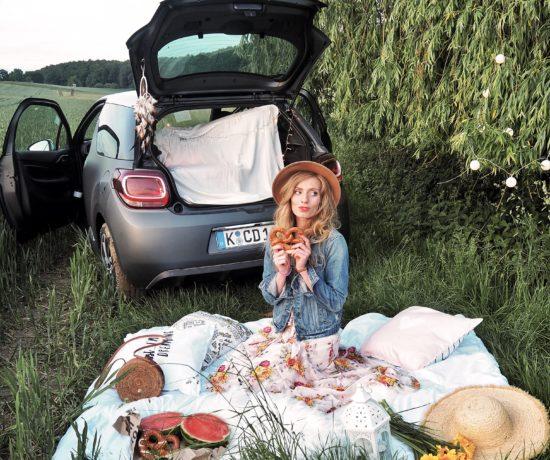 Picknick vor dem DS Wagen